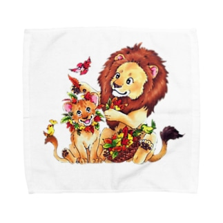 親子ライオン Towel handkerchiefs