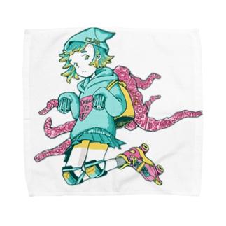 げそにんちゃんグッズ(青) Towel handkerchiefs