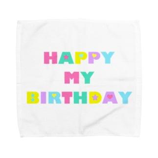 お誕生日ロゴ Towel handkerchiefs