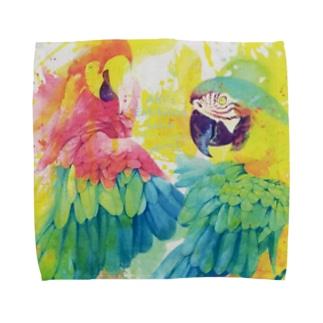 AKI ONLINE SHOPの出逢った青い鳥と赤い鳥 Towel handkerchiefs