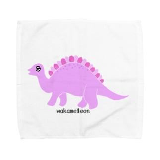 眠たいキョウリュウ ピンク Towel handkerchiefs