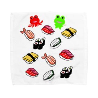 お寿司とカエルくんとたこケロ Towel handkerchiefs