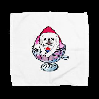犬グッズの店しえるぶるーのかき氷ワンちゃん 氷イチゴ ペキニーズ ホワイト Towel handkerchiefs