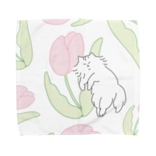 ピンクのチューリップ Towel Handkerchief
