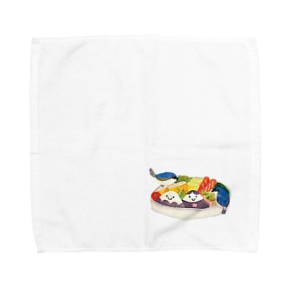 小鳥のランチタイム Towel handkerchiefs