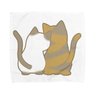 仲良し猫の背中 ポインテッド&サビ Towel handkerchiefs