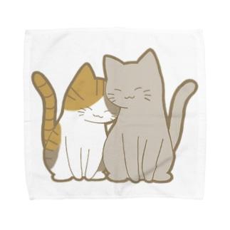 かわいいもののおみせ いそぎんちゃくの仲良し猫 縞三毛&灰 Towel handkerchiefs
