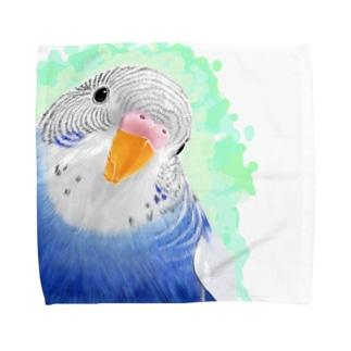 セキセイインコ オパーリン大【まめるりはことり】 Towel handkerchiefs