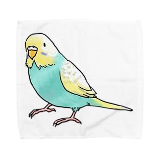 ごきげんセキセイインコ【まめるりはことり】 Towel handkerchiefs