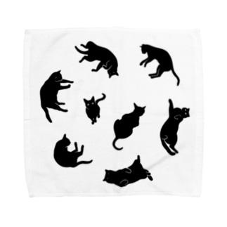Kitties (Black Towel handkerchiefs