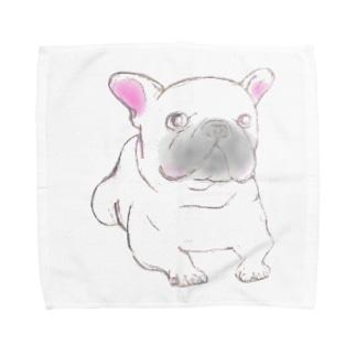 ホワイトフレンチブルドッグ Towel handkerchiefs