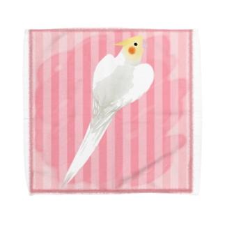 オカメインコ ハートルチノーオカメインコ【まめるりはことり】 Towel handkerchiefs