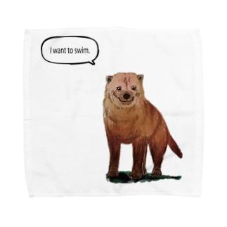 泳ぎたいヤブイヌ Towel handkerchiefs