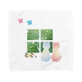 やまとねこのねこと蝶 Towel Handkerchief