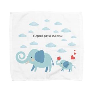 象の親子【あかえほ公式】 Towel handkerchiefs