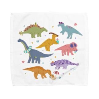 夏の恐竜たち Towel handkerchiefs