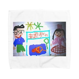 ねこの金魚すくい屋さん Towel handkerchiefs