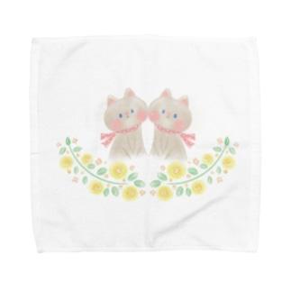 双子の子猫 Towel handkerchiefs