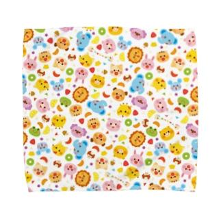 Illustrator イシグロフミカの動物たちとフルーツ Towel handkerchiefs