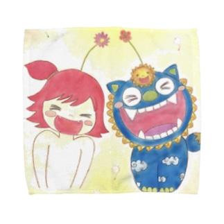 太陽シーサーとキジムナー ちゃん Towel handkerchiefs