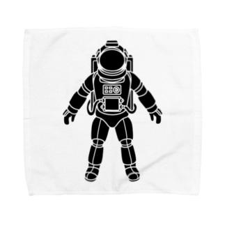 夢見る宇宙服-シルエット-黒 Towel handkerchiefs