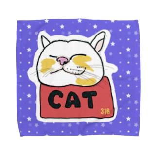 ねこのリラックス① Towel handkerchiefs