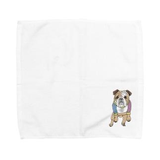 OGNdesignの犬 ブルドック NO.5 Towel handkerchiefs