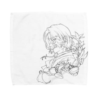 老官長 線画 Towel handkerchiefs