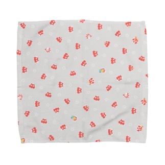 めんたま柄 (グレー地) Towel handkerchiefs