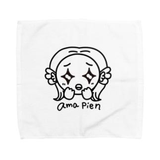 アマピエン_モノクロ Towel handkerchiefs