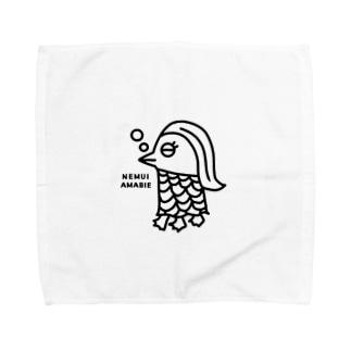 エクレアンショップの眠いアマビエ Towel handkerchiefs