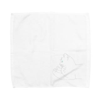 なにかにくりーむぱんをおしつけるねこ Towel handkerchiefs