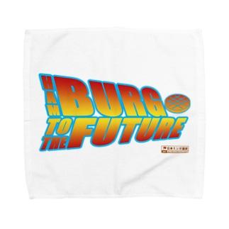 ハンバーグ王子のハンバーググッズオンラインショップ「1日1バーグ」のハンバーグイラスト「ハンバーグ・トゥ・ザ・フューチャー」 Towel handkerchiefs