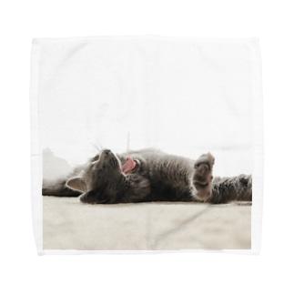 あくびする 猫 Towel handkerchiefs