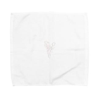 rilybiiのピンクチューリップ🌷ハート Towel handkerchiefs