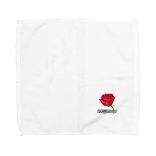 Rose-赤いバラ Towel handkerchiefs