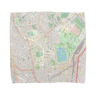 東大 & 上野公園地図 Towel handkerchiefs