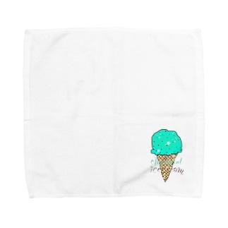 なでしこ@デザインのチョコミントアイスクリーム Towel handkerchiefs