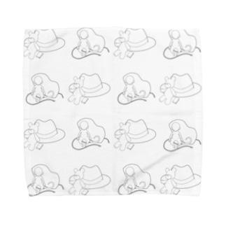 やちる本舗のテディベアと帽子と小猿と面 Towel handkerchiefs