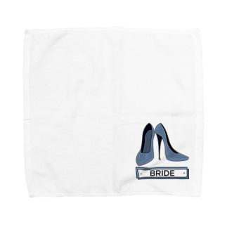 ペアTシャツ屋のシバヤさんのペア(BRIDE)ヒール_ブルー Towel handkerchiefs