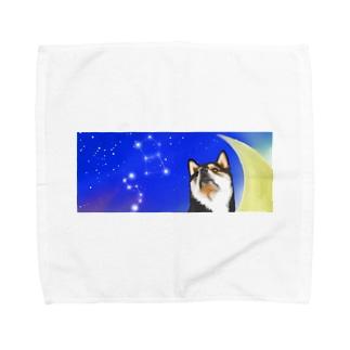 (黒柴)うちのわんこchanシリーズ 月と星 横長  Towel handkerchiefs