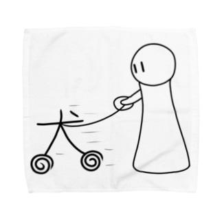 アトリエヱキパの犬のさんぽ Towel handkerchiefs