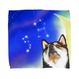 (黒柴)うちのわんこchanシリーズ 月と星 ブランケット用 Towel handkerchiefs
