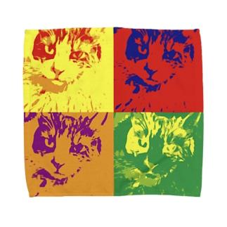 コヌイの家のアンディウォーホル風ねこ Towel handkerchiefs