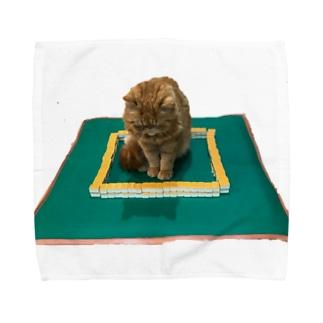 麻雀の中心でネコがさけぶ Towel handkerchiefs