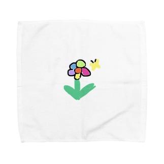 お花とちょうちょさん Towel handkerchiefs