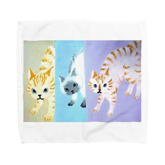 シャーしてる猫猫猫 Towel handkerchiefs