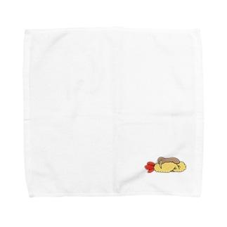 エビフライを抱くキーウィ Towel handkerchiefs