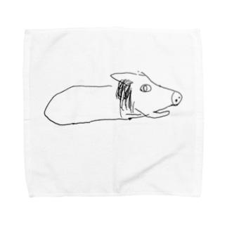膝上テレビ見の犬 Towel handkerchiefs