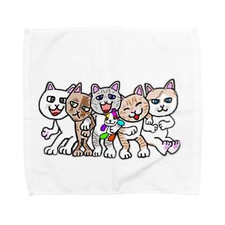 猫ちゃんファミリー Towel handkerchiefs